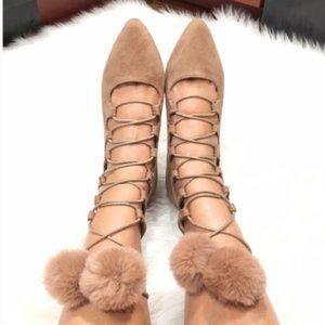 Shoes - Pom Pom Flats Beige